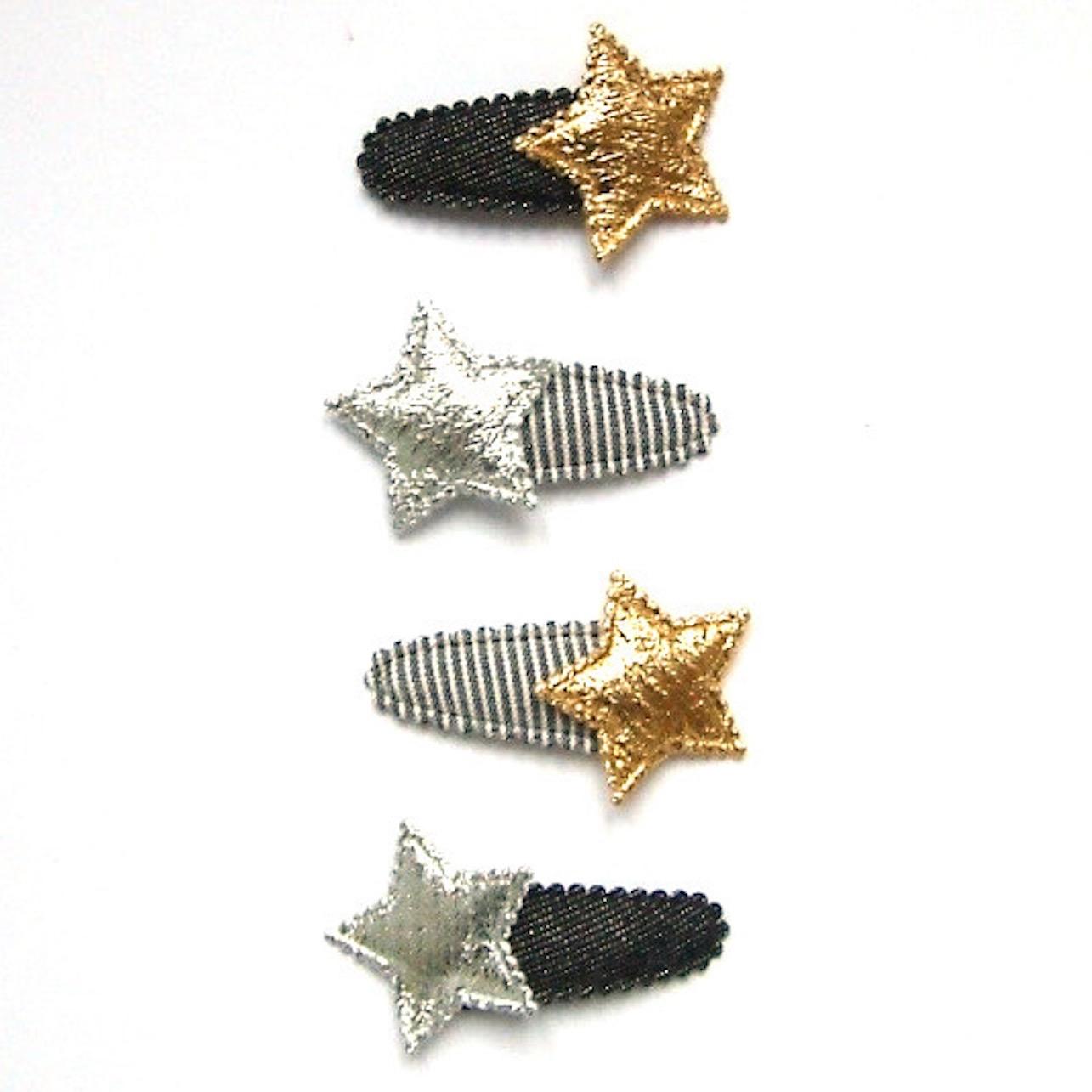 barrette anti-glisse bébé à étoile en or ou argent