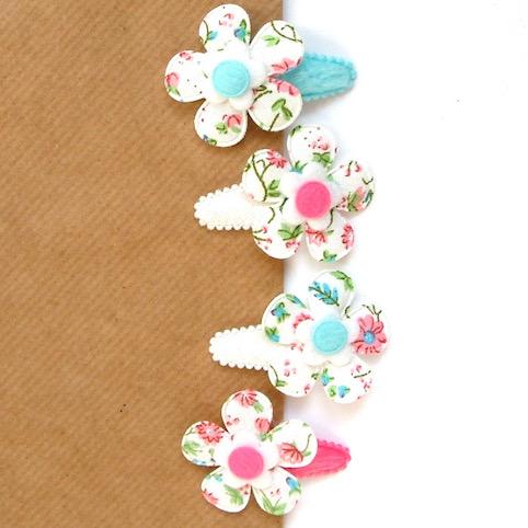barrette pour bébé fille à grande fleur en tissu