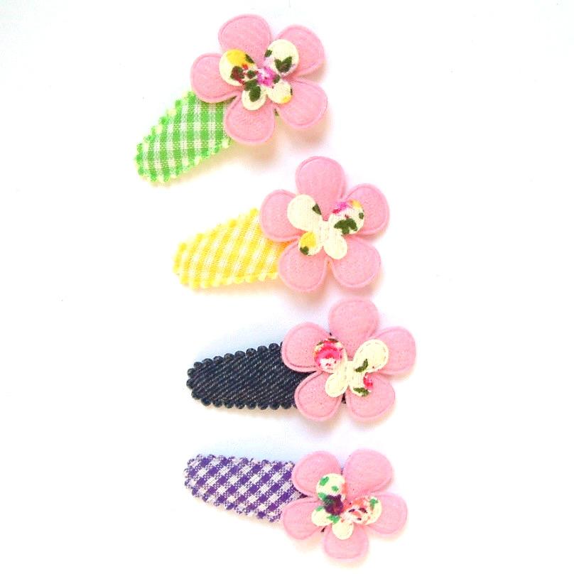 Barrette pour petite fille bébé à fleur et papillon