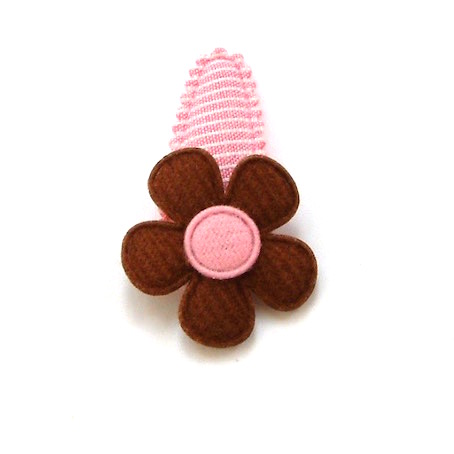 barrette bébé à fleur en feutrine brune